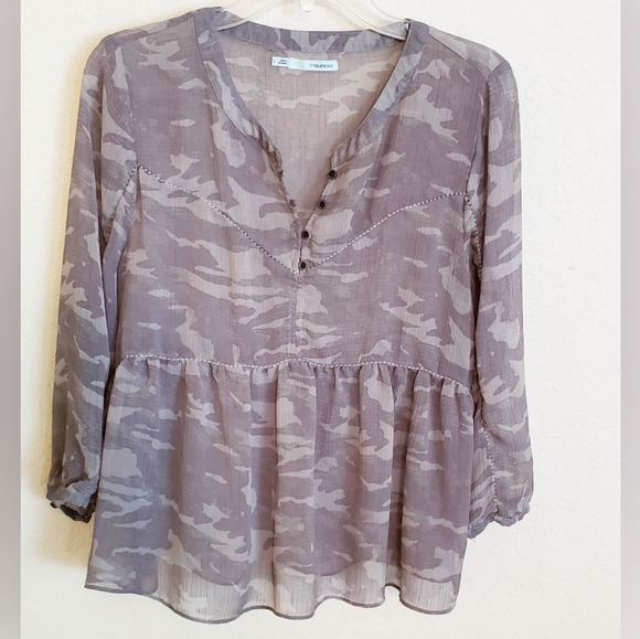 Maurices Tops - Maurices Sheer Camo Blouse Size Large